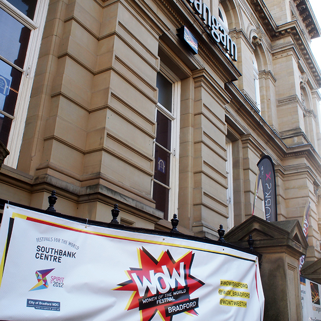 Banner design, print and install for WOW Festival Bradford, 2016