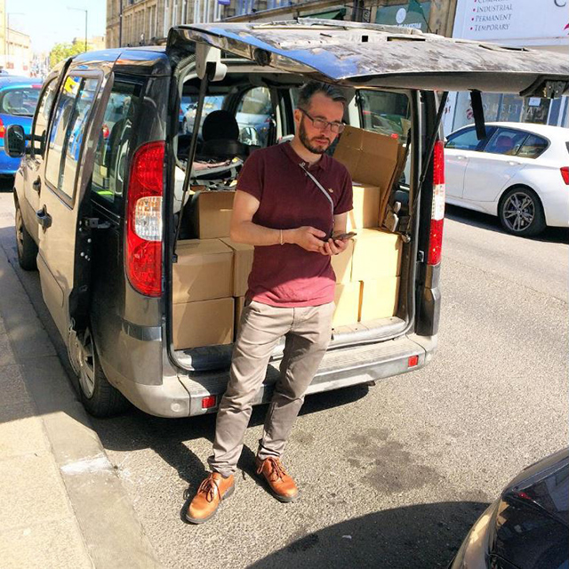 Carl and his van on North Parade, Bradford, 2017
